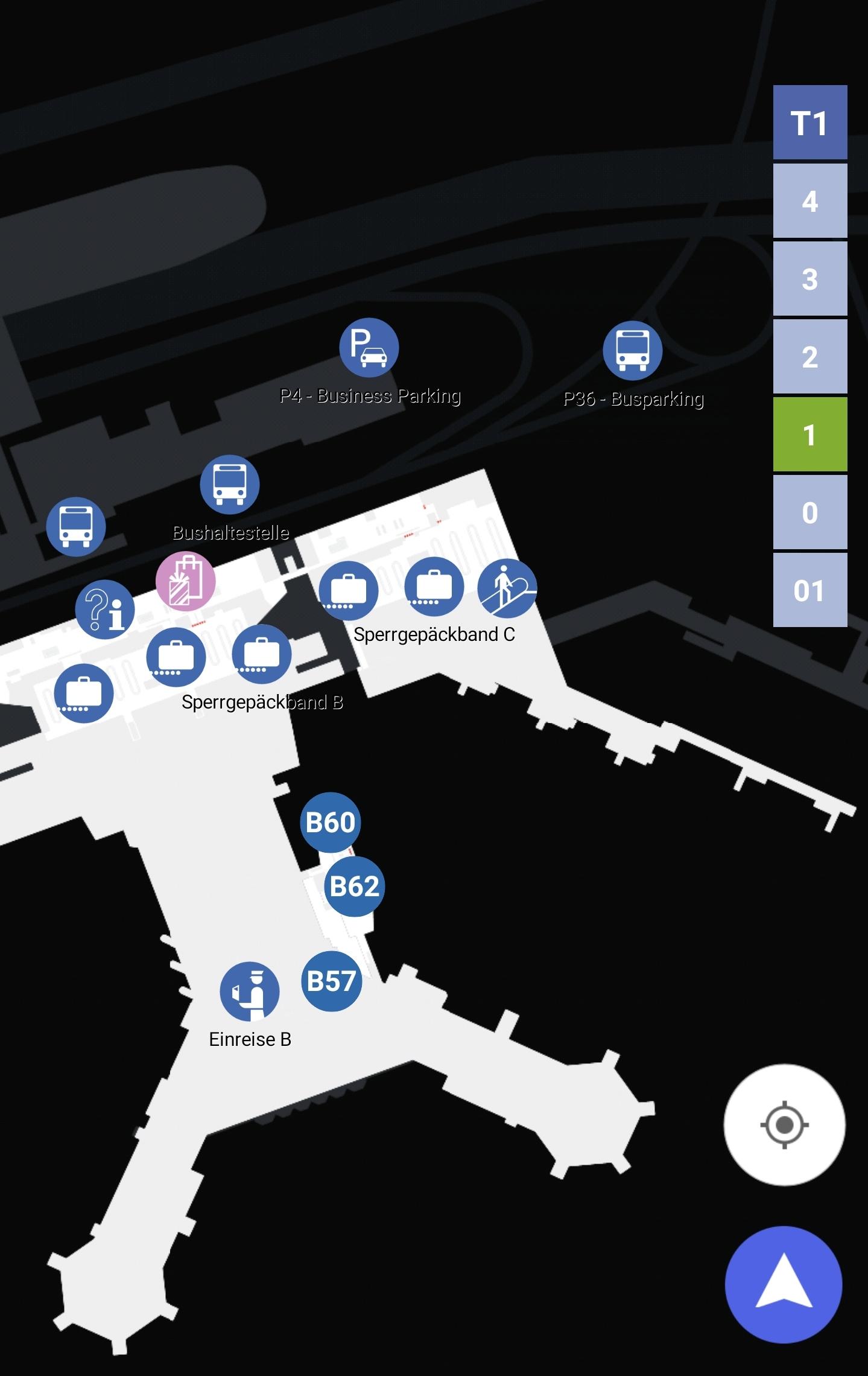 Karten Maps Terminal 1 mit Ebene 1 und Gates B am Flughafen Frankfurt Airport FRA