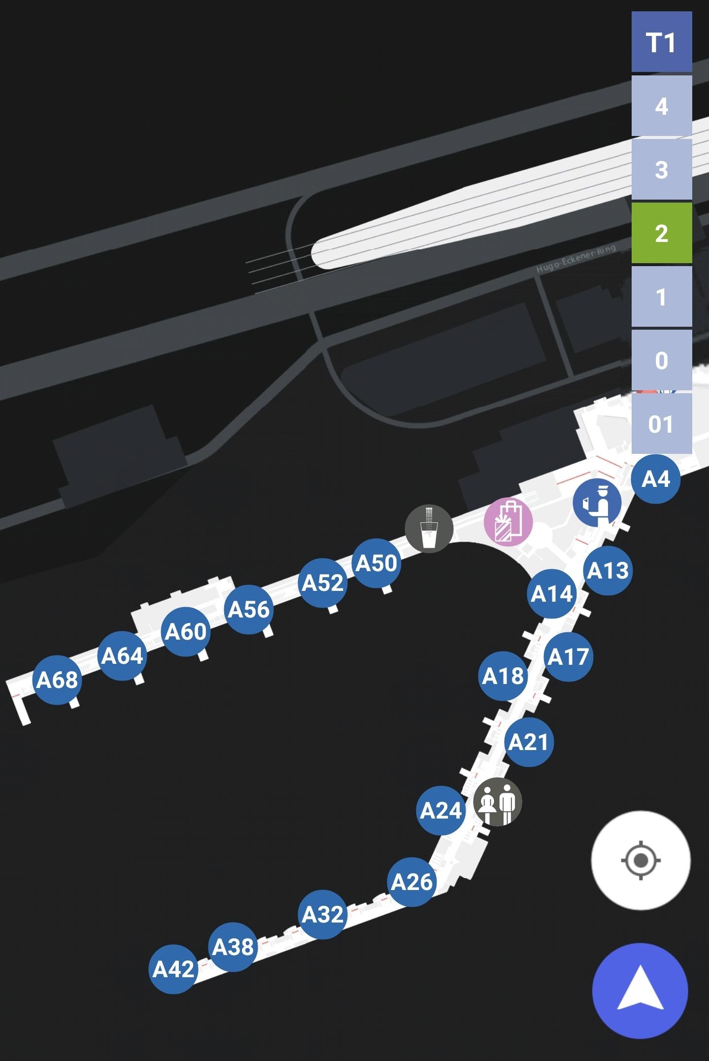 Karten Maps Terminal 1 mit Ebene 2 und Gates A am Flughafen Frankfurt Airport FRA